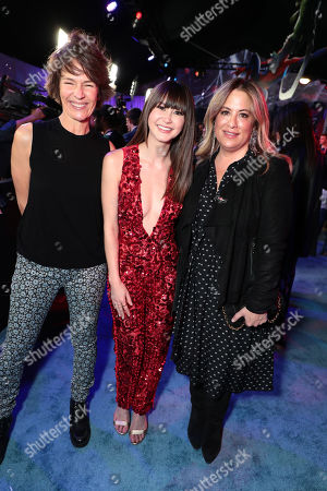 Kristine Belson, President of Sony Pictures Animation, Kimiko Glenn and Christina Steinberg, Producer, during the Red Carpet Premiere of Columbia Pictures and Sony Pictures Animation's SPIDER-MAN: INTO THE SPIDER-VERSE at Regency Village Theatre.