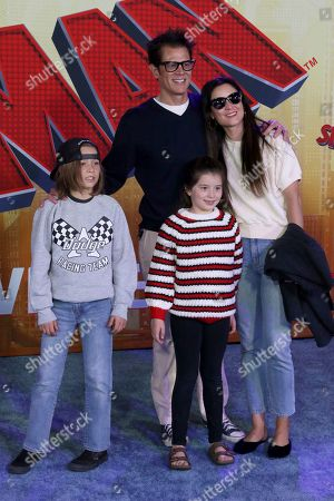 """Rocko Akira Clapp, Johnny Knoxville, Arlo Clapp, Naomi Nelson. Rocko Akira Clapp, from left, Johnny Knoxville, Arlo Clapp, and Naomi Nelson arrive at the World Premiere of """"Spider-Man: Into the Spider-Verse"""" at the Regency Village Theatre, in Los Angeles"""