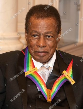 Wayne Shorter, one of the recipients of the 41st Annual Kennedy Center Honors, as he poses for a group photo following a dinner