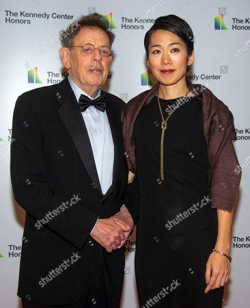 Philip Glass (L) and Japanese artist Saori Tsukada (R)