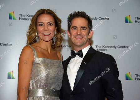 US choreographer Andy Blankenbuehler (R)and his wife Elly (L)