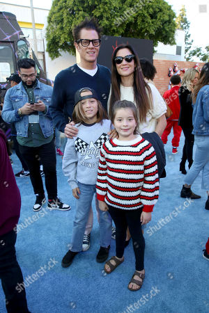 """Rocko Akira Clapp, Johnny Knoxville, Arlo Clapp, Naomi Nelson. Rocko Akira Clapp, Johnny Knoxville, Arlo Clapp and Naomi Nelson during the Red Carpet Premiere of Columbia Pictures and Sony Pictures Animation's """"Spider-Man: Into the Spider-Verse"""" at Regency Village Theatre, in Los Angeles"""