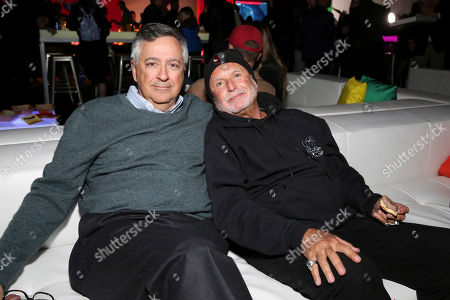 "Tony Vinciquerra, Avi Arad. Tony Vinciquerra, Chairman and Chief Executive Officer, Sony Pictures Entertainment, and Avi Arad, Producer, during the After-Party of Columbia Pictures and Sony Pictures Animation's ""Spider-Man: Into the Spider-Verse"" at Regency Village Theatre, in Los Angeles"