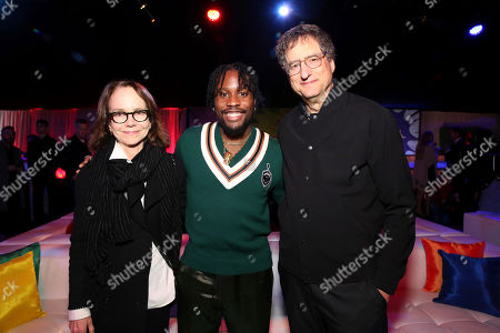 "Jessica Harper, Shameik Moore, Tom Rothman. Jessica Harper, Shameik Moore and Tom Rothman, Chairman, Sony Pictures Entertainment Motion Picture Group, during the After-Party of Columbia Pictures and Sony Pictures Animation's ""Spider-Man: Into the Spider-Verse"" at Regency Village Theatre, in Los Angeles"