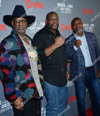 Stock Picture of Michael Spinks, Riddick Bowe and Evander Holyfield