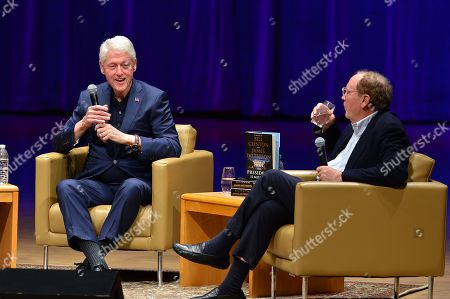 President Bill Clinton and author James Patterson during a discussion of their new book 'The President is Missing'