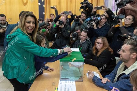 Ruling PSOE party's candidate for the Andalusian Presidency, Susana Diaz (L), casts her vote during the Andalusian regional election, in Seville, Spain, 02 December 2018. More than six million of people are called to elect the 109 seats of the 11th Parliament of the Autonomous Community of Andalusia after the previous Parliament was dissolved as a result of Ciudadanos party's withdrawal of support to ruling PSOE party forcing the Regional President Susana Diaz's Government to call snap election for 02 December.