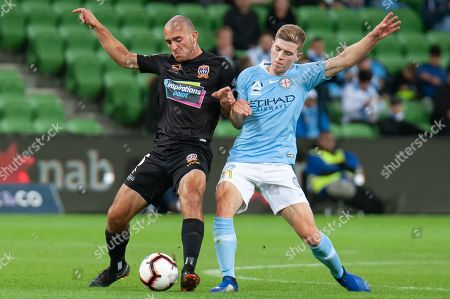 Melbourne City midfielder Riley McGree (8) battles for the ball at the Hyundai A-League Round 6 soccer match