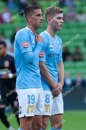 Melbourne City midfielder Lachlan Wales (19) and Melbourne City midfielder Riley McGree (8) prepare a wall at the Hyundai A-League Round 6 soccer match