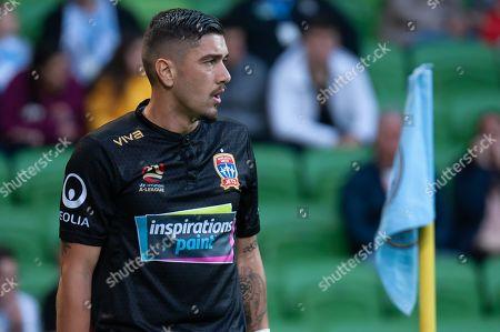 Newcastle Jets forward Dimitri Petratos (7) prepares for a corner kick at the Hyundai A-League Round 6 soccer match