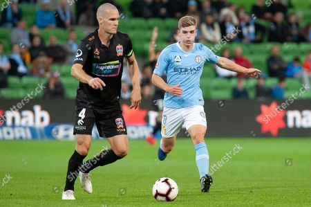 Melbourne City midfielder Riley McGree (8) runs for the ball at the Hyundai A-League Round 6 soccer match