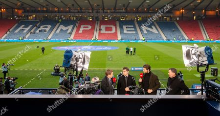 BT Sport TV analysis commentator Darrell Currie with pundits Kenny McLean, Charlie Mulgrew & Chris Sutton prepare to broadcast from Hampden Park