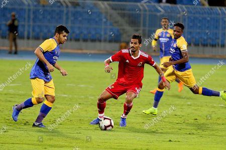 Al-Nassr player Yahya Al-Shehri (L) in action for the ball with Al-Wehda player Waleed Bakhashween (R) during the Saudi Professional League soccer match between Al-Nassr and Al-Wehda at Prince Faisal bin Fahd Stadium in Riyadh, Saudi Arabia, 2nd December 2018