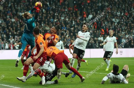 Besiktas' goalkeeper Loris Karius (L) in action during the Turkish Super League derby match between Besiktas and Galatasaray in Istanbul, Turkey, 02 December 2018.