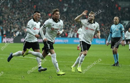 Besiktas' Adem Ljajic (C) celebrates his goal with teammates  during the Turkish Super League derby match between Besiktas and Galatasaray in Istanbul, Turkey, 02 December 2018.