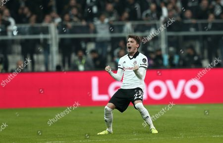 Besiktas' Adem Ljajic celebrate his goal during the Turkish Super League derby match between Besiktas and Galatasaray in Istanbul, Turkey, 02 December 2018.
