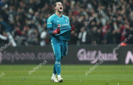 Besiktas' goal keeper Loris Karius reacts during the Turkish Super League derby match between Besiktas and Galatasaray in Istanbul, Turkey, 02 December 2018.