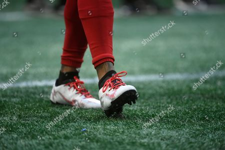 Atlanta Falcons wide receiver Justin Hardy (14) warms up before the first half of an NFL football game between the Atlanta Falcons and the Baltimore Ravens, in Atlanta