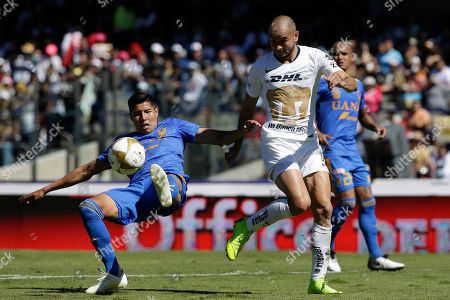 Tigres' Hugo Ayala, left, clears the ball under pressure from Pumas' Carlos Gonzalez during a Mexico soccer league second leg quarter finals match in Mexico City