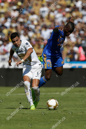 Pumas' Pablo Barrera, left, and Tigres' Ener Valencia fight for the ball during a Mexico soccer league second leg quarter finals match in Mexico City