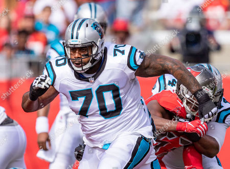 Carolina Panthers offensive guard Trai Turner (70) during the game between the Carolina Panthers and the Tampa Bay Buccaneers at Raymond James Stadium in Tampa, Florida