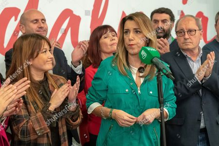 PSOE-A party candidate Susana Diaz (C) gives a speech after the Andalusian regional election, in Sevilla, Spain, 02 December 2018. Preliminary official results show PSOE-A as the first party, but without the majority in the regional parliament.