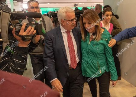 PSOE-A party candidate Susana Diaz (R) talks with Andalusian Vice President Manuel Jimenez Barrios (C) after the Andalusian regional election, in Sevilla, Spain, 02 December 2018. Preliminary official results show PSOE-A as the first party, but without the majority in the regional parliament.
