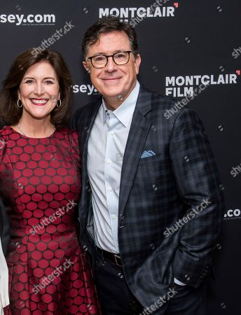 """Stock Picture of Stephen Colbert, Evelyn Colbert. Evelyn Colbert and Stephen Colbert pose backstage before """"Montclair Film: An Evening with Stephen Colbert and Meryl Streep"""" at the New Jersey Performing Arts Center, in Newark, N.J"""