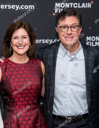 """Stephen Colbert, Evelyn Colbert. Evelyn Colbert and Stephen Colbert pose backstage before """"Montclair Film: An Evening with Stephen Colbert and Meryl Streep"""" at the New Jersey Performing Arts Center, in Newark, N.J"""