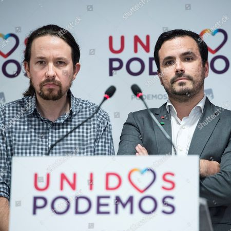 Podemos party leader Pablo Iglesias (L) and General Coordinator of IU party Alberto Garzon (R) offer a press conference after the Andalusian regional election, in Madrid, Spain, 02 December 2018. Preliminary official results show Adelante Andalucia as the fourth party behind PP, PSOE and Ciudadanos.