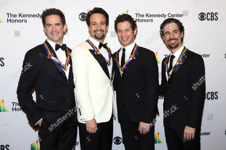 """Andy Blankenbuehler, Lin-Manuel Miranda, Thomas Kail, Alex Lacamoire. 2018 Kennedy Center honorees, co-creators of """"Hamilton,"""" from left, Andy Blankenbuehler, Lin-Manuel Miranda, Thomas Kail and Alex Lacamoire attend the 41st Annual Kennedy Center Honors at The Kennedy Center, in Washington - 2018 Kennedy Center Honoree"""