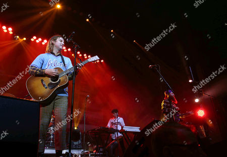 Stock Picture of Judah Akers, Brian MacDonald, Nate Zuercher. Judah Akers, Brian MacDonald and Nate Zuercher with Judah & the Lion performs during the ALT 105.7 Holiday Spectacular at the Coca-Cola Roxy, in Atlanta
