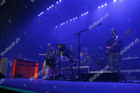 Stock Image of Dan Smith, Kyle Simmons, Will Farquarson, Chris Wood. Dan Smith, Kyle Simmons, Will Farquarson and Chris Wood with Bastille performs during the ALT 105.7 Holiday Spectacular at the Coca-Cola Roxy, in Atlanta