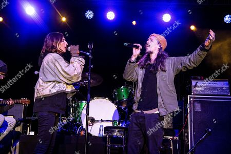 Emily Kokal, Brandon Boyd. Emily Kokal, left, of War Paint and Brandon Boyd of Incubus seen at One Love Malibu at King Gillette Ranch, in Calabasas, Calif