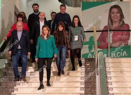 Susana Diaz (2-L, front), Spanish Socialist Party (PSOE-A)'s candidate for Andalusian regional president, is accompanied by several members of her party after the results of the election were announced in a hotel in Seville, Andalusia, southern Spain, late 02 December 2018. The party won the election but it did not gain the absolute majority. It is possible that Diaz does not get enough support to be re-elected as regional President.