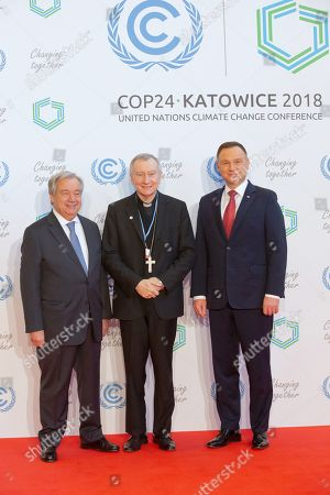 (L-R) Secretary General of the United Nations (UN) Antonio Guterres, Vatican Secretary of State Cardinal Pietro Parolin and Polish President Andrzej Duda during the welcome ceremony before the COP24 summit in Katowice, Poland, 03 December 2018. The COP (Conference of the Parties) summit is the highest body of the UN Framework Convention on Climate Change (UNFCC). Expected at the meeting are close to 30,000 delegates from all over the world, including government leaders and ministers responsible for environmental policy.