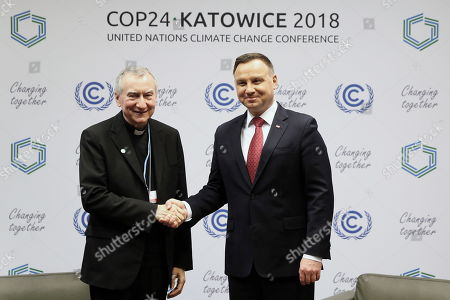 Vatican Secretary of State Cardinal Pietro Parolin (L) and Polish President Andrzej Duda (R) attend a bilateral meeting during the COP24 summit in Katowice, Poland, 03 December 2018. The COP (Conference of the Parties) summit is the highest body of the UN Framework Convention on Climate Change (UNFCC). Expected at the meeting are close to 30,000 delegates from all over the world, including government leaders and ministers responsible for environmental policy.