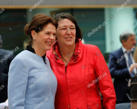 Stock Photo of Slovenia vice prime minister Alenka Bratusek (L) chats with European commissioner in charge of transport Violeta Bulc (R) during a European Transport, Telecommunications and Energy (TTE) Council, in Brussels, Belgium, 03 December 2018. One of the main topic at the council will be debating on the Commission proposal to end seasonal time changes.