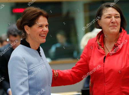 Slovenia vice prime minister Alenka Bratusek (L) chats with European commissioner in charge of transport Violeta Bulc (R) during a European Transport, Telecommunications and Energy (TTE) Council, in Brussels, Belgium, 03 December 2018. One of the main topic at the council will be debating on the Commission proposal to end seasonal time changes.