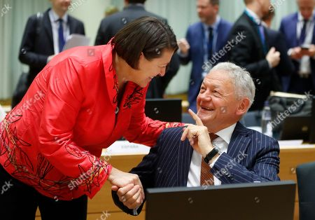 European commissioner in charge of transport Violeta Bulc (L) chats with Belgium Transport Minister Francois Bellot during a European Transport, Telecommunications and Energy (TTE) Council, in Brussels, Belgium, 03 December 2018. One of the main topic at the council will be debating on the Commission proposal to end seasonal time changes.