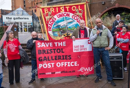 Bristol's elected Mayor Marvin Rees at the Save Our Post Offices campaign event at Bristol's main post office which under threat of closure in The Galleries Shopping Centre. Members of the Communication Workers Union (CWU) supported by Bristol Trades Union Council were joined by Bristol's elected Mayor Marvin Rees to campaign against the proposed closure.