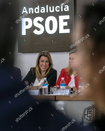 Acting Andalusian regional President Susana Diaz (C), candidate for re-election of Spanish Socialist Party PSOE-A; smiles during a meeting of the party's executive committee in the party's headquarters in Seville, Andalusia, southern Spain, 03 December 2018. Diaz won the election but it did not gain the absolute majority. It is possible that Diaz does not get enough support to be re-elected as regional President, which might mean that, for first time, a Socialist Party's candidate won't run the region since the first regional election was held in Andalusia in 1982.