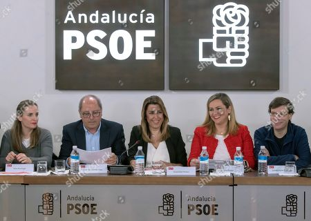 Acting Andalusian regional President Susana Diaz (3-R), candidate for re-election of Spanish Socialist Party PSOE-A; chairs a meeting of the party's executive committee in the party's headquarters in Seville, Andalusia, southern Spain, 03 December 2018. Diaz won the election but it did not gain the absolute majority. It is possible that Diaz does not get enough support to be re-elected as regional President, which might mean that, for first time, a Socialist Party's candidate won't run the region since the first regional election was held in Andalusia in 1982.