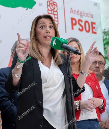 Acting Andalusian regional President Susana Diaz (C), candidate for re-election of Spanish Socialist Party PSOE-A delivers a speech at the party's headquarters in Seville, Andalusia, southern Spain, 03 December 2018, a day after the Andalusian regional election. Diaz won the election but it did not gain the absolute majority. It is possible that Diaz does not get enough support to be re-elected as regional President, which might mean that, for first time, a Socialist Party's candidate won't run the region since the first regional election was held in Andalusia in 1982.