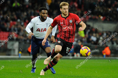 Danny Rose of Tottenham Hotspur and Stuart Armstrong of Southampton in action during the Premier League match between Tottenham Hotspur and Southampton at Wembley Stadium in London, UK - 5th December 2018