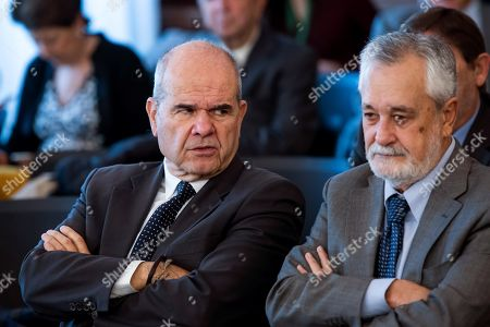 Stock Image of Defendants Manuel Chaves (L) and Antonio Grinan, former Andalusian regional presidents, attend a session of the so-called ERE trial in Seville, southern Spain, 03 December 2018. Chavez and Grinan are two of the 21 former top-rank officers of Andalusian regional government who are accused of being involved in the regional employment regulation scandal so-called ERE case. The court investigates the alleged plot for the illegal concession of public funds by means of fake labor force adjustment plans.