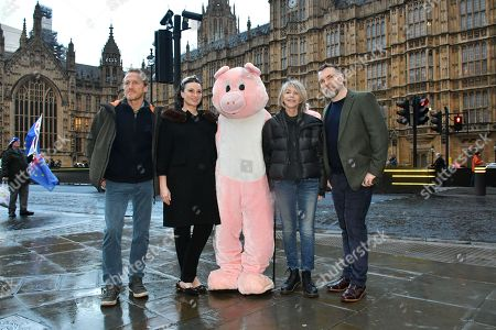 Jerome Flynn, Gizzi Erskine, Leslie Ash, Ciaran McMenamin - Photocall for Factory Farming Investment Risks campaign film opposing plans for a massive pig farm in Northern Ireland, in Lough Foyle where Game of Thrones is filmed,