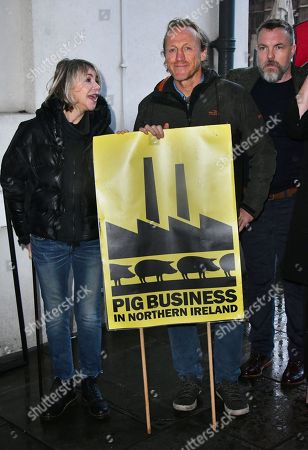 Stock Photo of Leslie Ash, Jerome Flynn, Ciaran McMenamin - Photocall for Factory Farming Investment Risks campaign film opposing plans for a massive pig farm in Northern Ireland, in Lough Foyle where Game of Thrones is filmed,