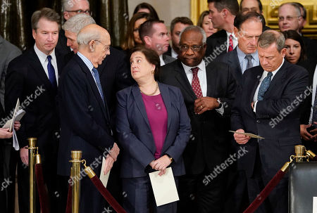 Brett Kavanaugh, Elena Kagan, Clarence Thomas, John Roberts, Stephen Breyer. From l-r., Associate Justices Brett Kavanaugh, Neil Gorsuch, Stephen Breyer, Elena Kagan, Clarence Thomas, Samuel Alito and Chief Justice John Roberts, arrive for services for former President George H.W. Bush, at the U.S. Capitol in Washington