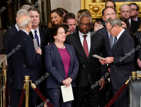 Brett Kavanaugh, Elena Kagan, Clarence Thomas, John Roberts, Neil Gorsuch, Stephen Breyer, Clarence Thomas. From l-r., Associate Justices Neil Gorsuch, Stephen Breyer, Brett Kavanaugh, Elena Kagan, Clarence Thomas, and Samuel Alito, and Supreme court Chief Justice John Roberts, after arriving for services for former President George H.W. Bush at the U.S. Capitol in Washington